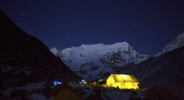 Night in the tents at Island Peak Base Camp