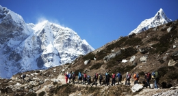 Trekkers on the trails to Base camp