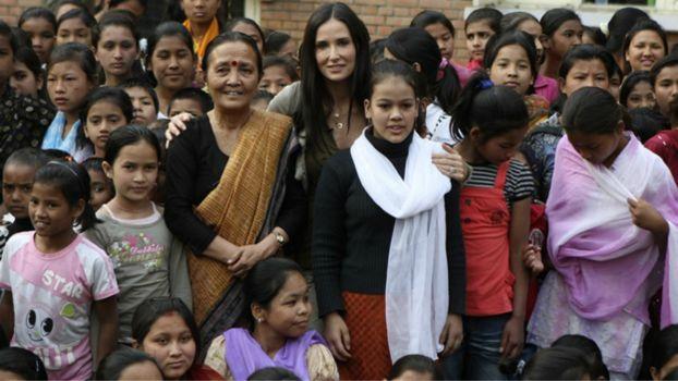 Demi Moore and Anuradha Koirala at Maiti Nepal