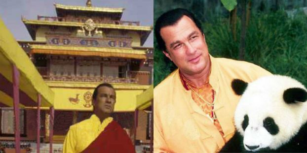 Steven Seagal in Monastery and with Panda